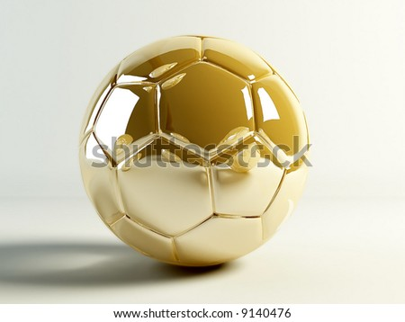 Golden soccer ball isolated on white background. - stock photo
