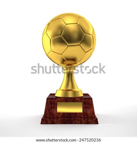 golden soccer ball trophy on white - stock photo