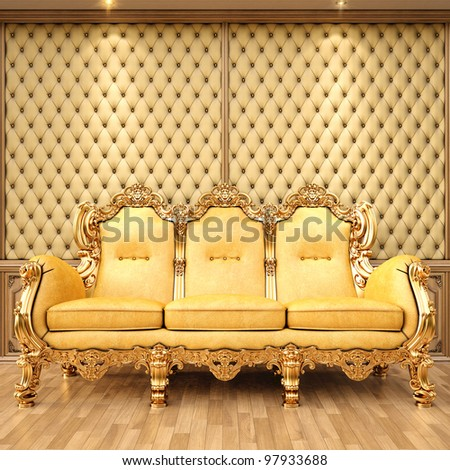 Nice Golden Sofa In The Luxurious Interior.