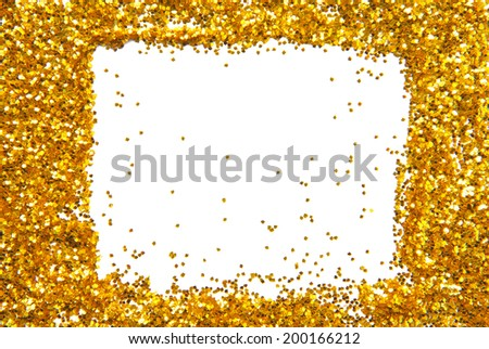 golden sparkle glittering frame - stock photo