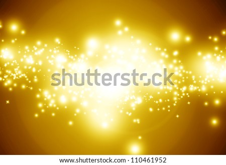 Golden sparkling background with intense glowing sparkles and glitter - stock photo
