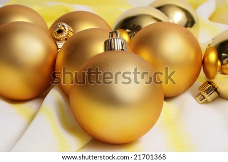 golden spheres and Christmas tree on a white background