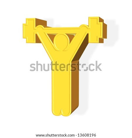 Golden sports concept rendered from 3D over white background - stock photo