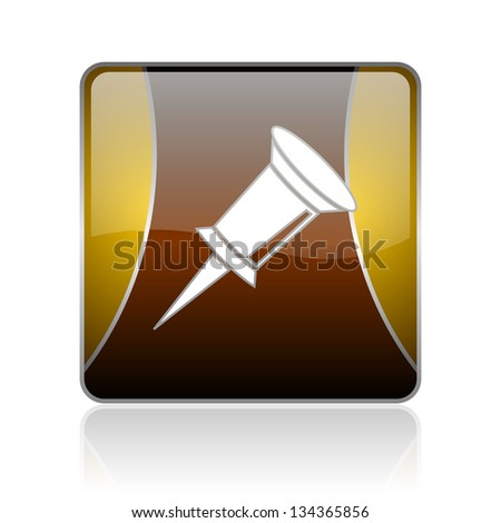 golden square glossy web icon on white background with refection - stock photo