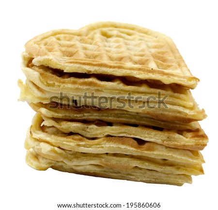 Golden stack of waffles isolated on white background - stock photo