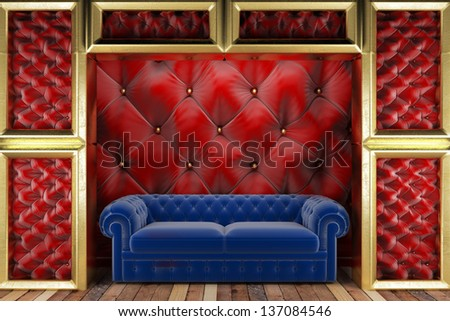 golden stage with sofa