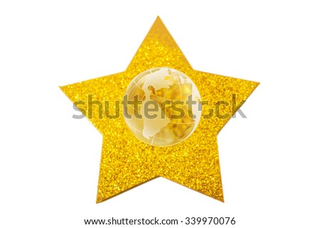 Golden star and crystal globe isolated on white background - stock photo