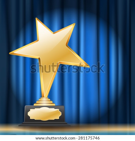 golden star award on blue curtain background - stock photo