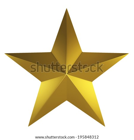 Golden star. 3d illustration isolated on white background