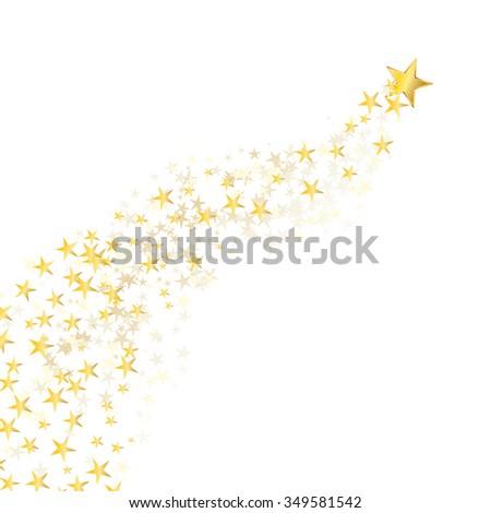 golden star flowing over white background. JPG version - stock photo
