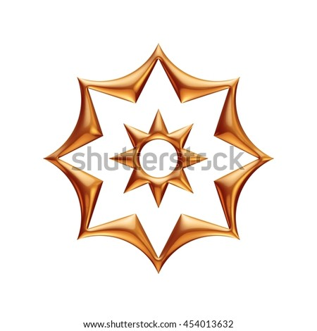 Golden star in 3d rendered on isolated white background.