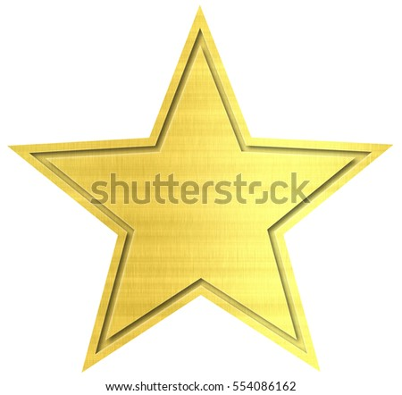 Golden star isolated on white background.