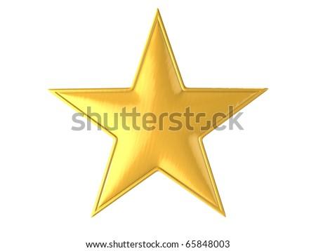 golden star isolated over white background 3d illustration - stock photo