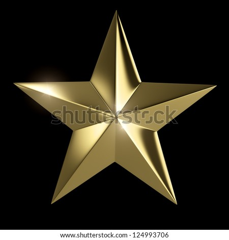 Golden star  isolated with clipping path on black background - stock photo