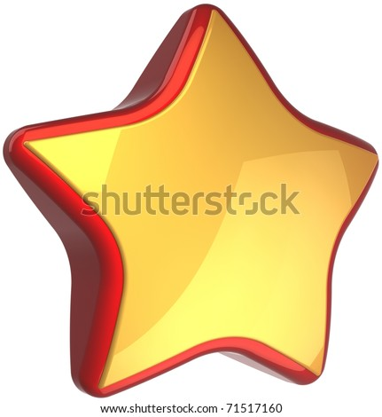 Golden star shape luxury bonus leader symbol with red border. High quality first place service success winner award badge blank. 3d illustration isolated