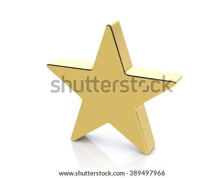 Golden star symbol on a white background. - stock photo