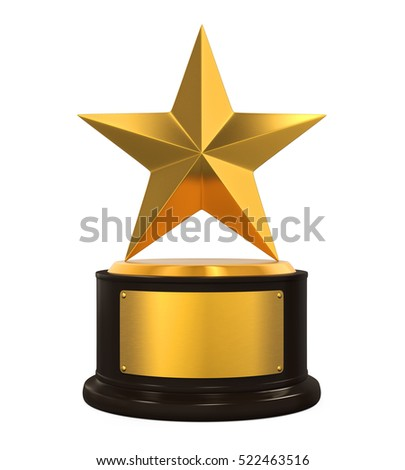 Golden Star Trophy. 3D rendering
