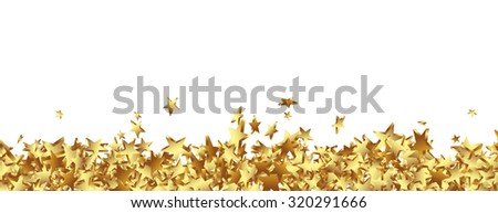 Golden Starlets on the Ground Panorama -  Isolated Horizontal Banner with White Background. Website Head Template. - stock photo