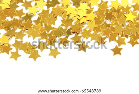 Golden stars border isolated on white background - stock photo