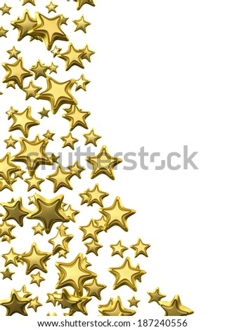 Golden Stars , Clipping Path , 3d render - stock photo