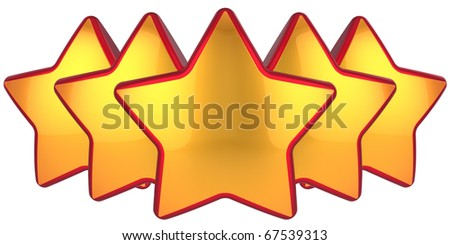 Golden stars. Modern top level rating symbol. Conception of the best choice label. High quality design elements. This is a detailed 3D render. Isolated on white background - stock photo