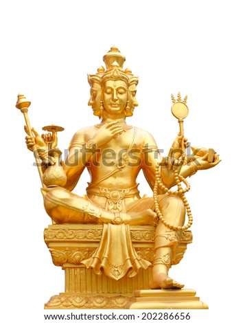 Golden statue of Brahma  isolated on white background, clipping path. - stock photo