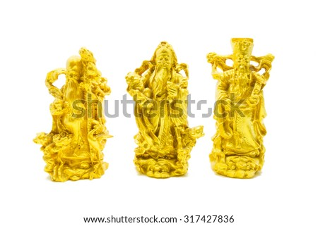 Golden statue of Chinese deities called Fu Lu Shou or Three Stars God. Concept of blessings, prosperity and longevity. Shot on White background.