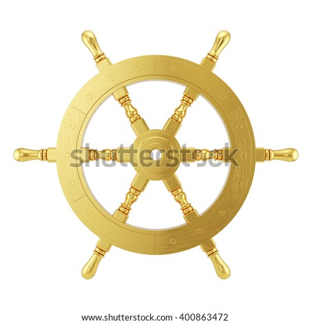 Golden steering wheel for ship isolated on white background. 3d ships wheel rendering - stock photo