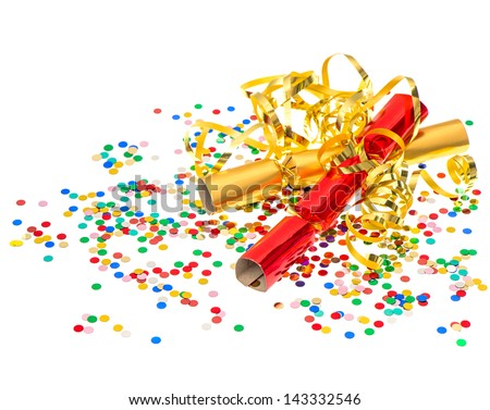 golden streamer, party cracker and multicolor confetti over white background. festive decoration - stock photo