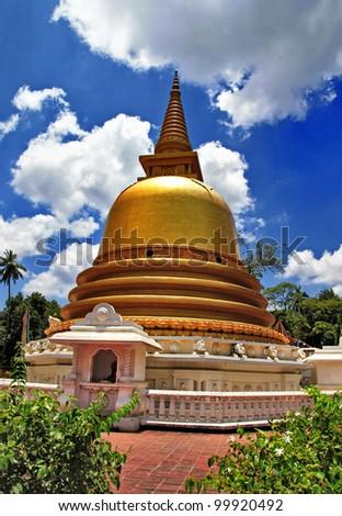 golden stupa in Dambulla Sri lanka - stock photo