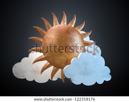 Golden stylized sun with clouds - vintage backdrop - stock photo