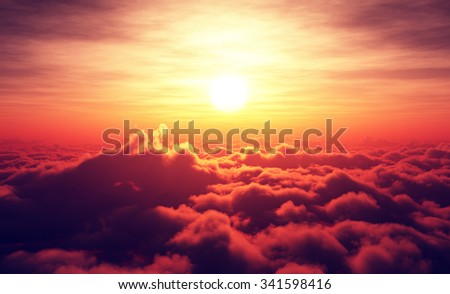 Golden Sunrise above puffy clouds (Digital artwork) - stock photo