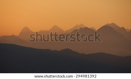 Golden sunrise near Gstaad