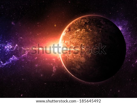 Golden Sunrise over Lone Planet - Elements of This Image Furnished By NASA  - stock photo