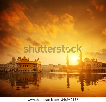 Golden sunset at Golden Temple in Amritsar, Punjab, India. - stock photo