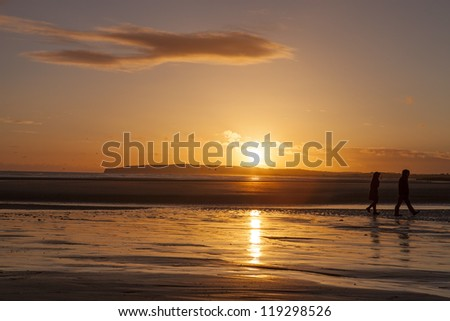 Golden Sunset Beach - Romantic couple walking on the beach