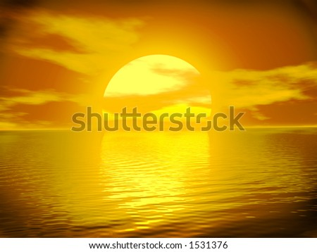 Golden Sunset in Gold with Reflections on the Ocean