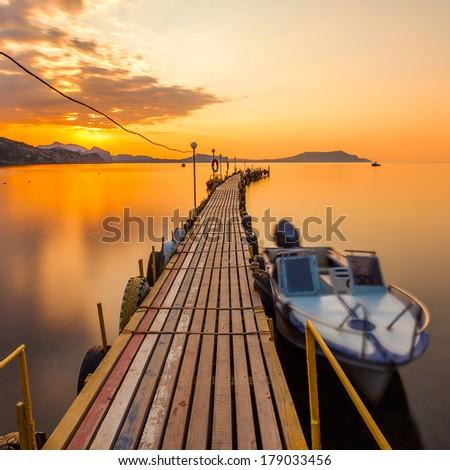 golden sunset on the sea - stock photo