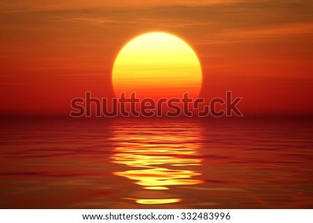 Golden Sunset over calm water (digital artwork) - stock photo