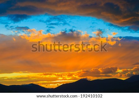 Golden Sunset over Mt. Mansfield, Stowe, Vermont, USA - stock photo