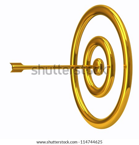 Golden target and arrow isolated on white background