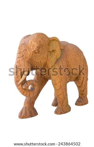 golden teak wood elephant, thai wooden craft - stock photo