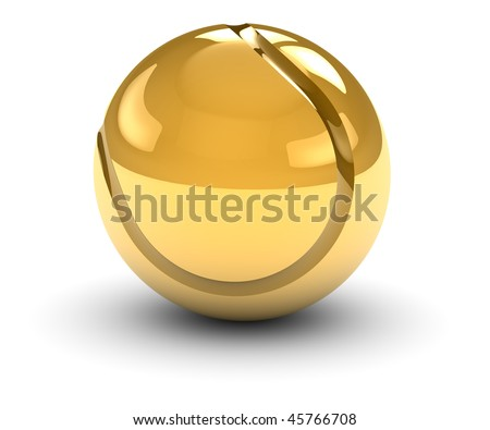 Golden tennis ball isolated on a white background. Part of a series. - stock photo