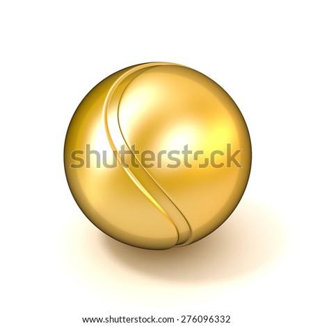 Golden tennis ball isolated on white background. 3D illustration - stock photo
