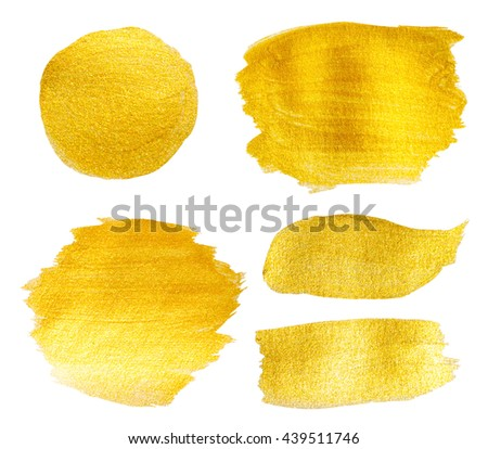 golden texture gouache stains set on white for Your design templates - stock photo