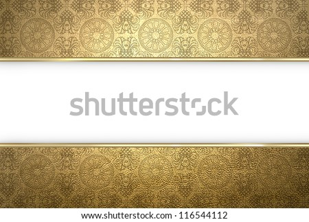Golden texture with central white stripe - stock photo