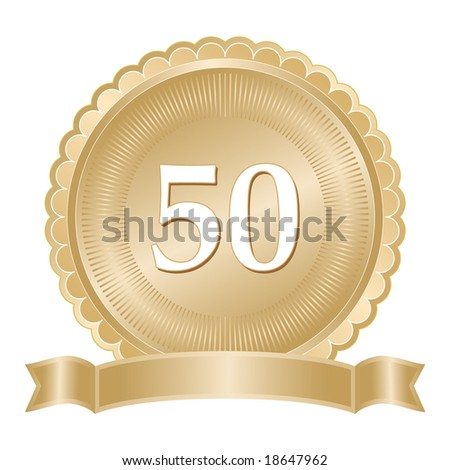 Golden 50th anniversary seal or medallion with ribbon banner and scalloped edge. - stock photo