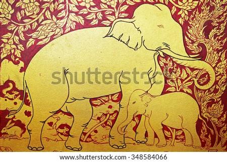 Golden Thai style pattern design handcraft on wood  - stock photo