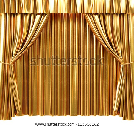 golden theatrical curtain. 3d image. - stock photo