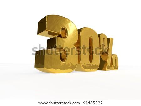 golden thirty percent - stock photo
